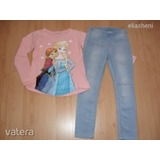 Disney Frozen felső+H&M farmer leggings 128
