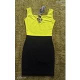 43e9d158fc My77 neonsárga-fekete ruha
