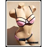 Neon-fekete, push-up bikini (S, 70/C)